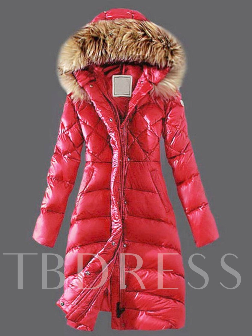 Faux Fur Hooded Long Warm Thicken A-line Women's Winter Overcoat