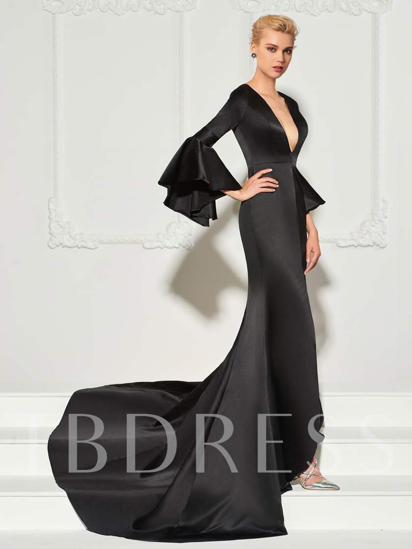 Trumpet Long Sleeves Button Spli-Front Court Train Evening Dress