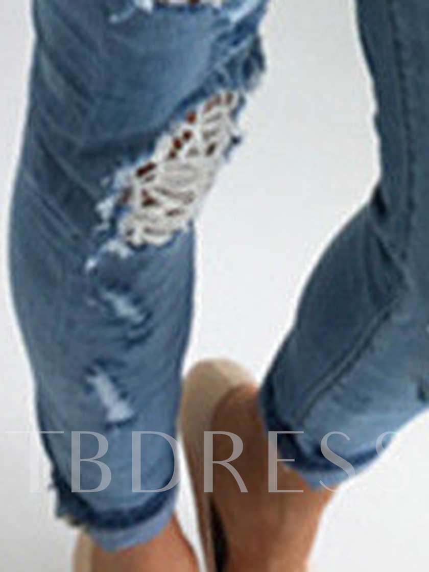Plain Mid Waisted Hole Patchwork Women's Jeans
