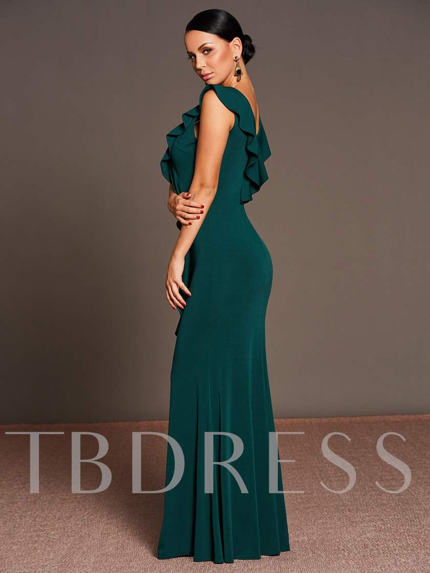 Green Falbala Backless Women's Maxi Dress