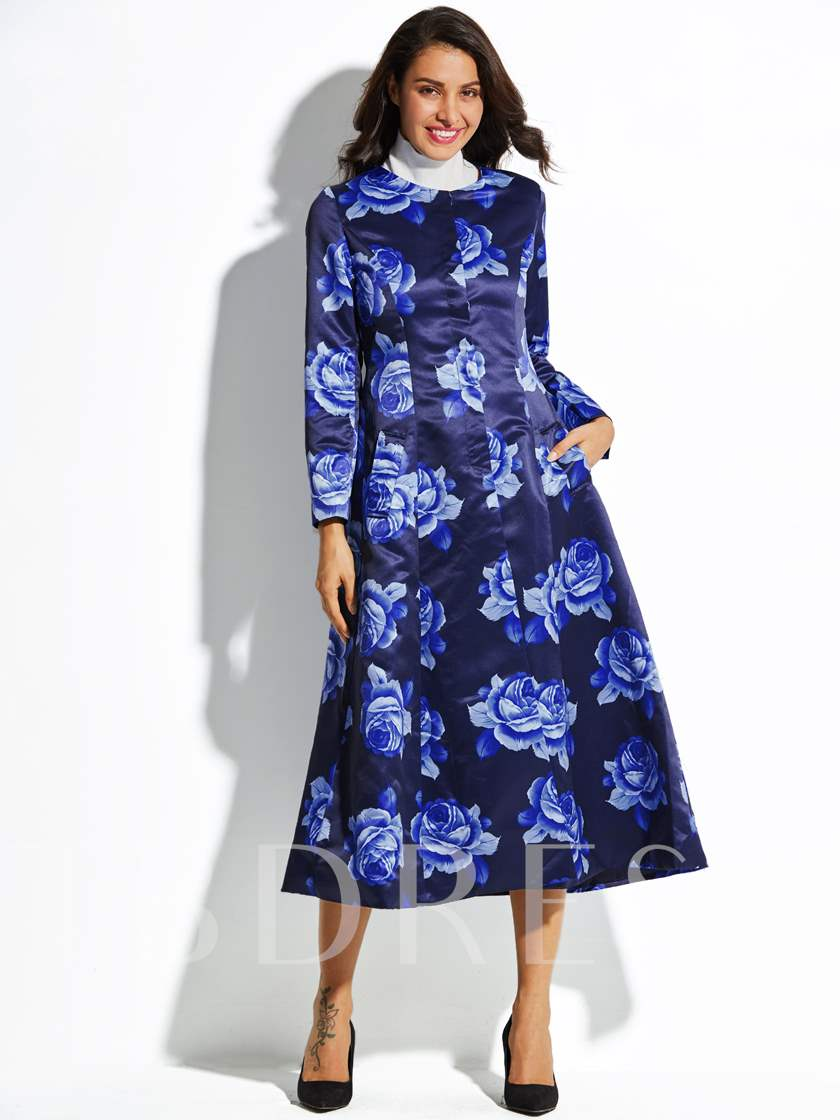 Hemline Floral Print Button Vacation Women's Trench Coat