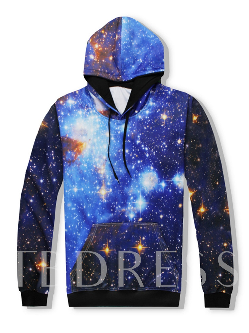 Hooded Kangaroo Pocket Sky Printed Lace-up Casual Slim Fit Men's Outfits