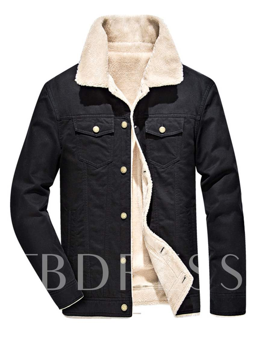 Lapel Single-Breasted Cotton Slim Fit Men's Winter Jacket