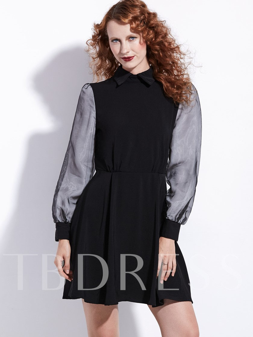 Black Lapel Lace up Women's Long Sleeve Dress