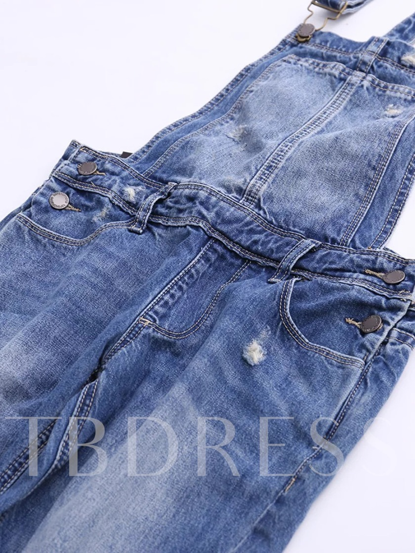 High Waisted Pocket Worn Denim Women's Overalls