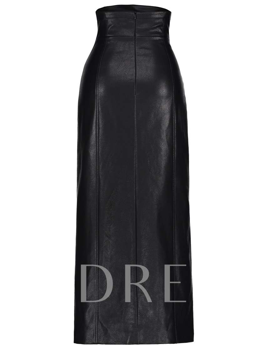 Split Front Faux Leather Women's Skirt