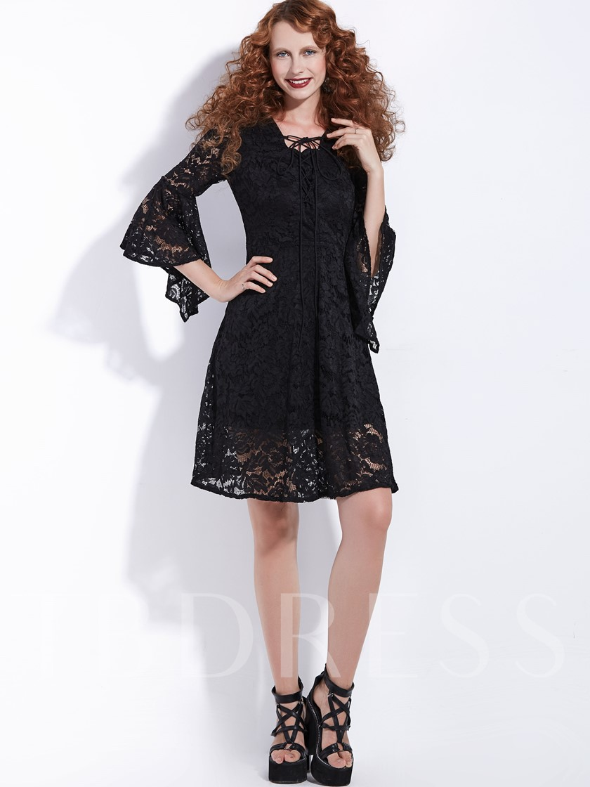 Bell Sleeve Tie Neck Women's Lace Dress