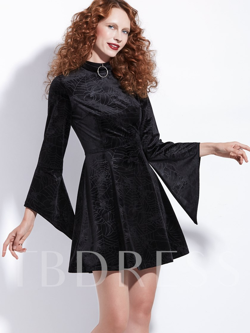 Zipper Knee-Length Long Sleeve Zipper Women's Dress