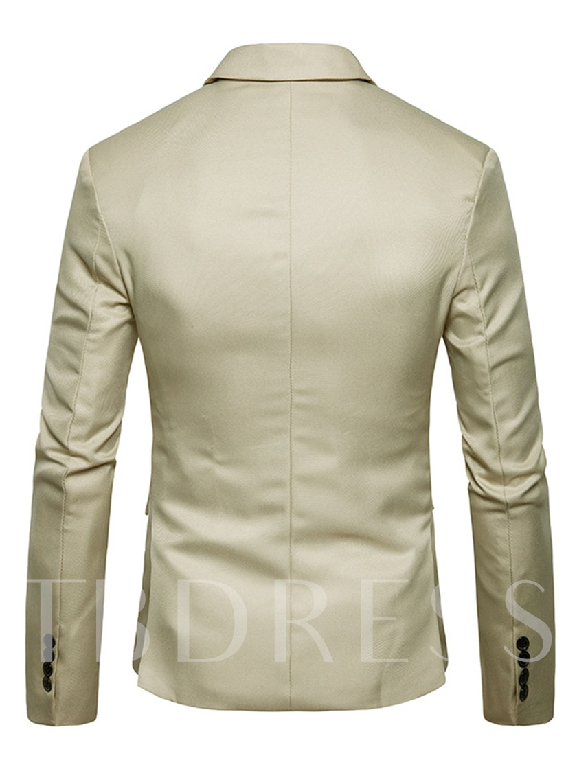 Notched Collar Plain Slim Fit Men's Blazer