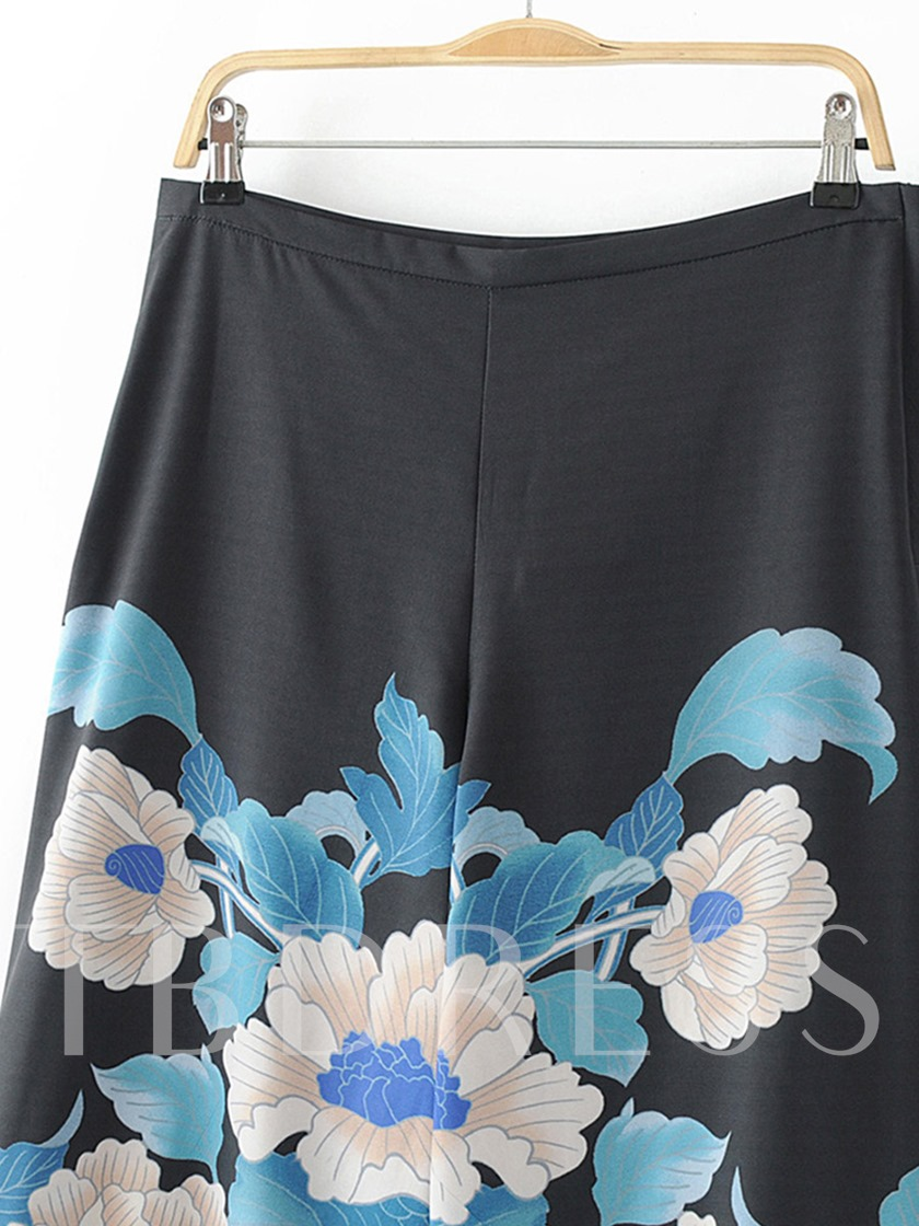 Floral Print Wide Legs Black Women's Casual Pants