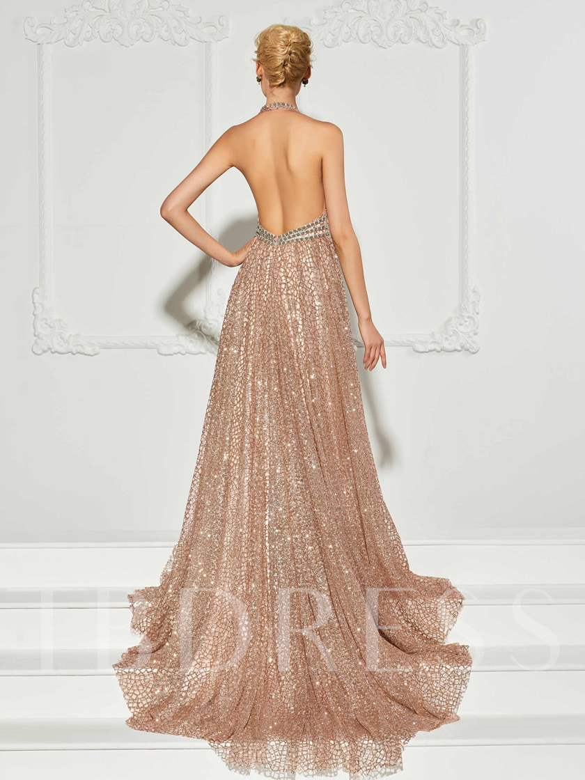 A-Line Halter Backless Beadings Court Train Evening Dress