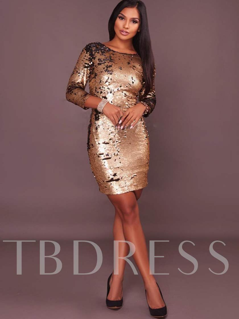 Golden Backledd Sequins Women's Bodycon Dress