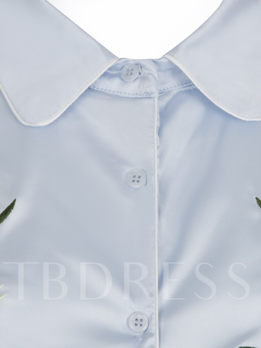 Single-Breasted Floral Embroideried Women's Shirt