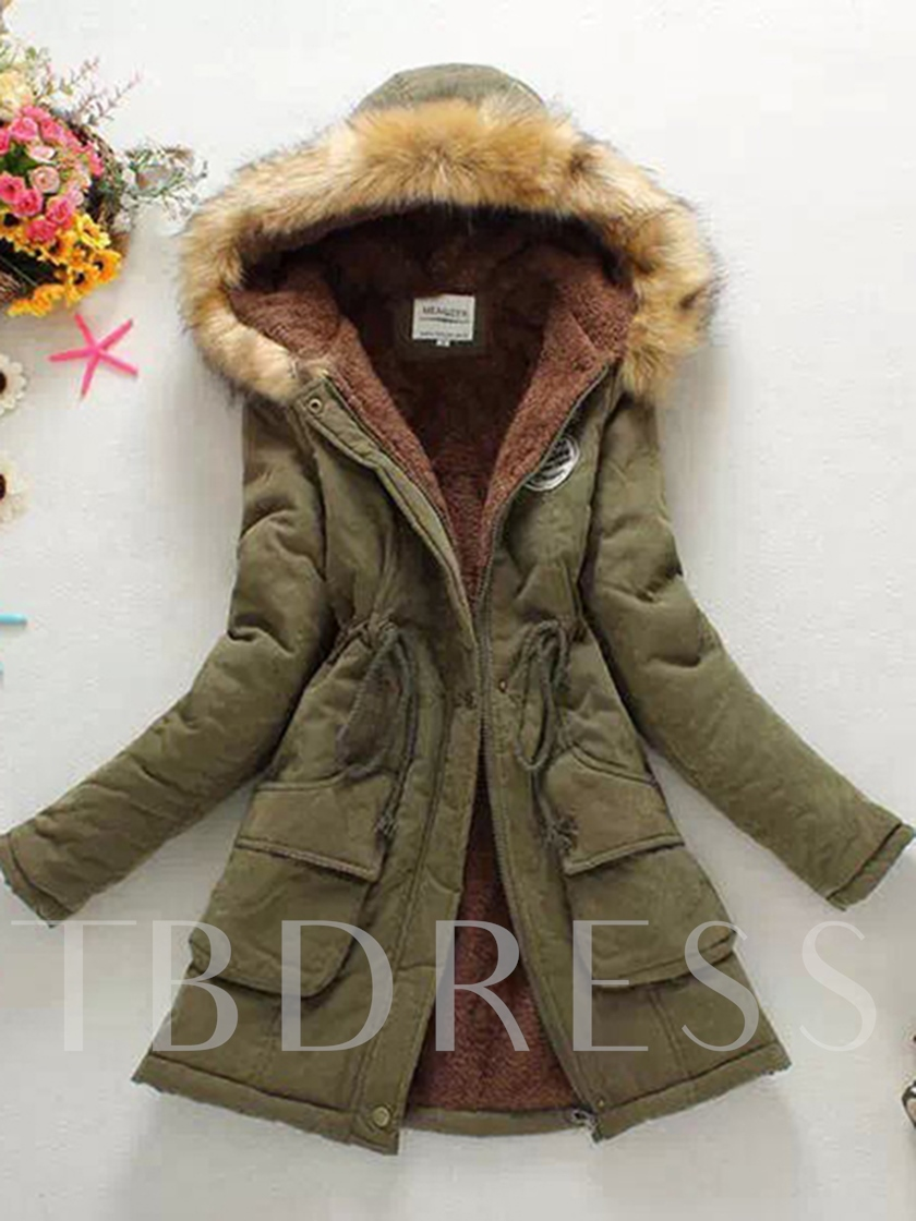 Lace-Up Double Pockets Hooded Women's Cotton Overcoat