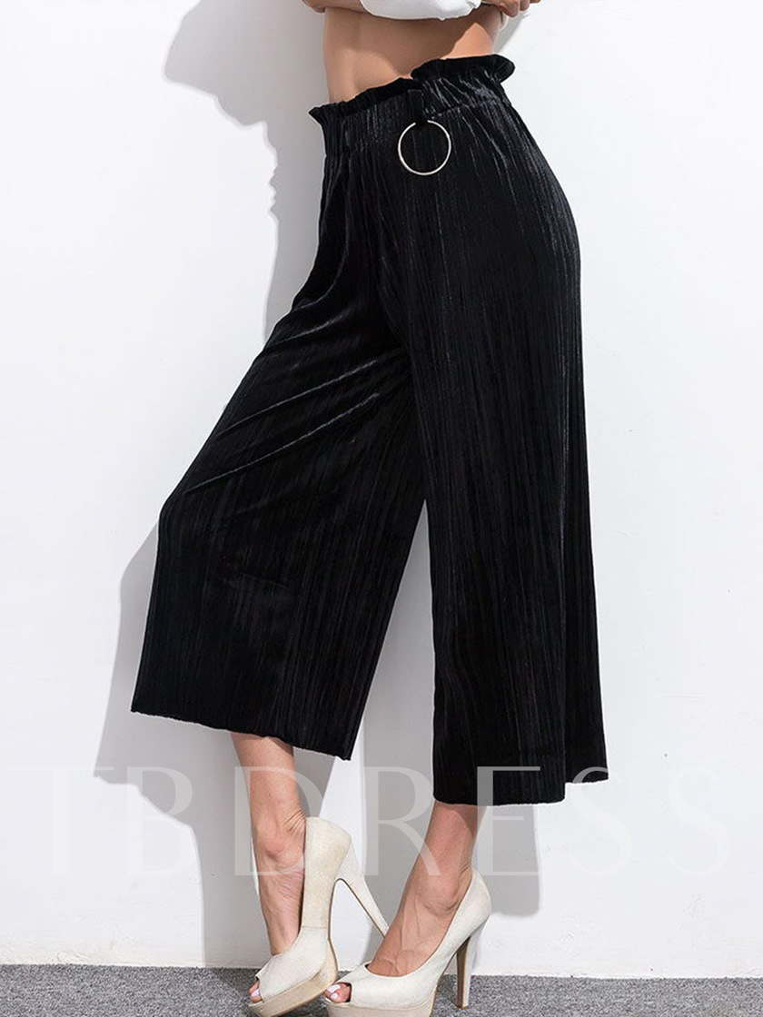 High Waisted Black Pleated Ankle Length Women's Pants