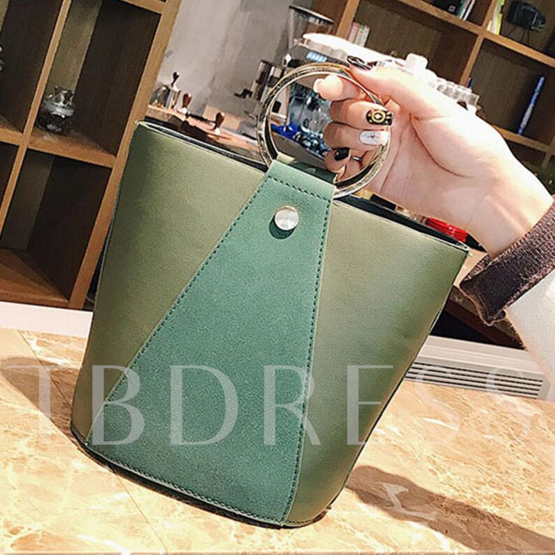Causal Bucket Shape Zipper Tote