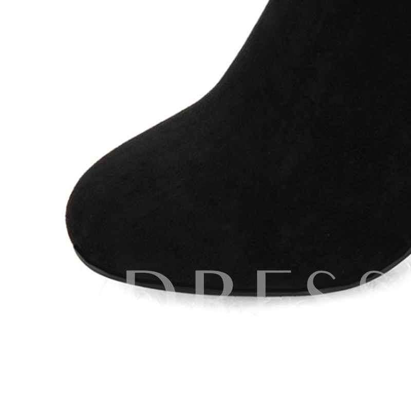 Women's Black Shoes Slip On Cotton Thigh High Boots