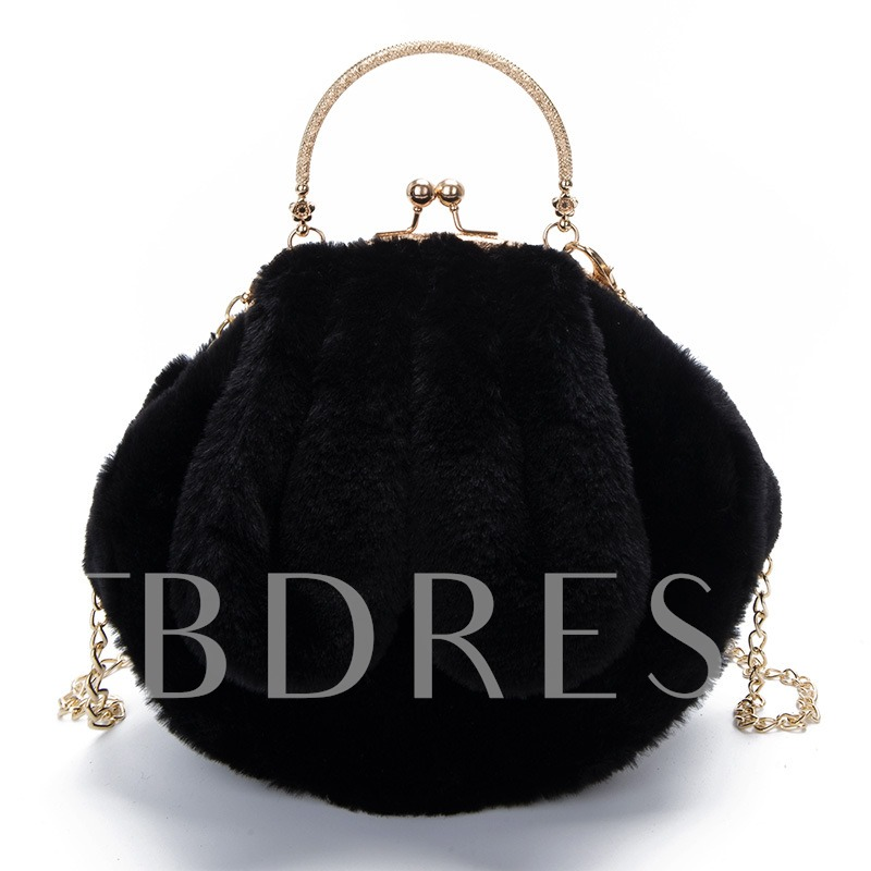 Lovely Ear Shape Plush Chain Evening Clutch