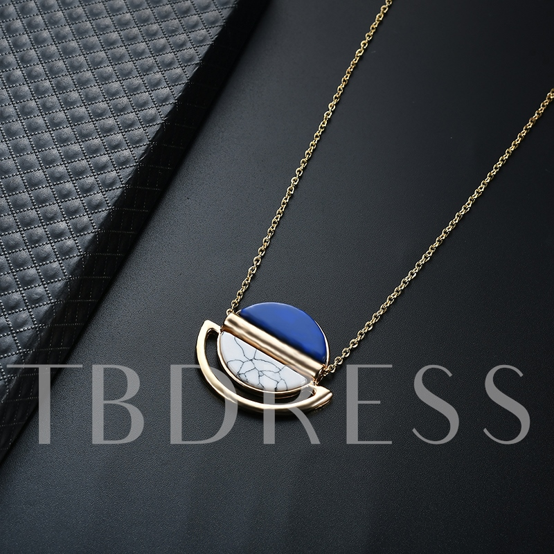 Semicircle Alloy Acrylic Link Chian Geometric Necklace