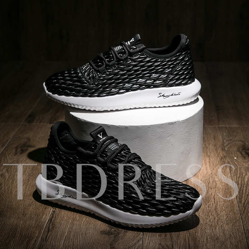 Cloth Flat With Lace Up Men's Light Running Shoes