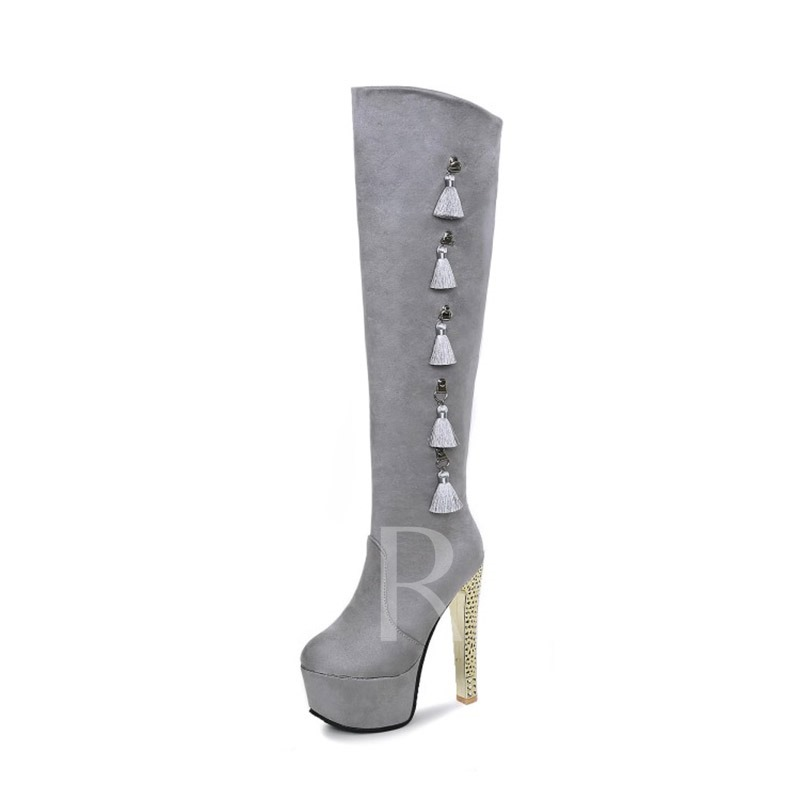 Plus Size Boots Fringe Chunky Heel Women's Knee High Boots