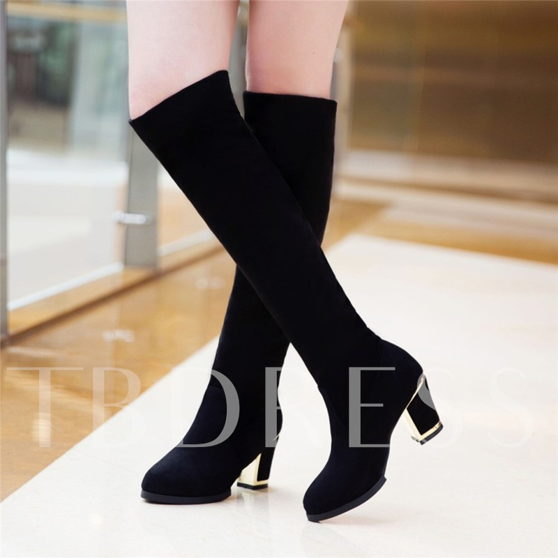 Chunky Heel Women's Knee High Boots Solid Shoes