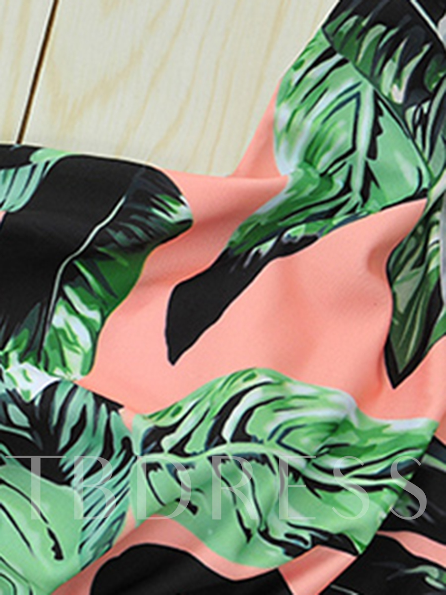 One-Shoulder Leaf Print Mori Girl One Piece Swimsuit