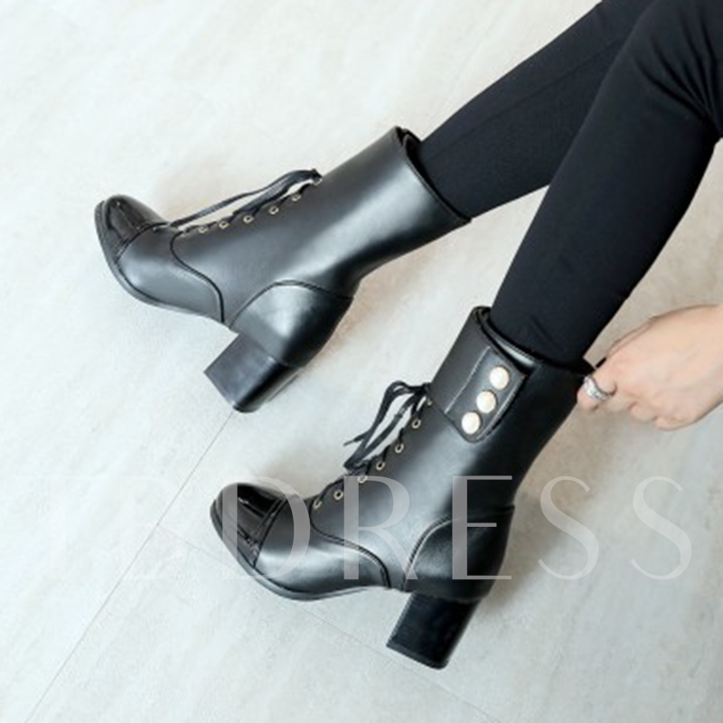 Chunky Heel Cuff Women's Solid Ankle Boots