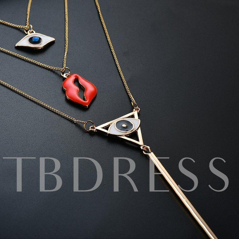 Simple Devil's Eye Flaming Lips Multilayer Necklace