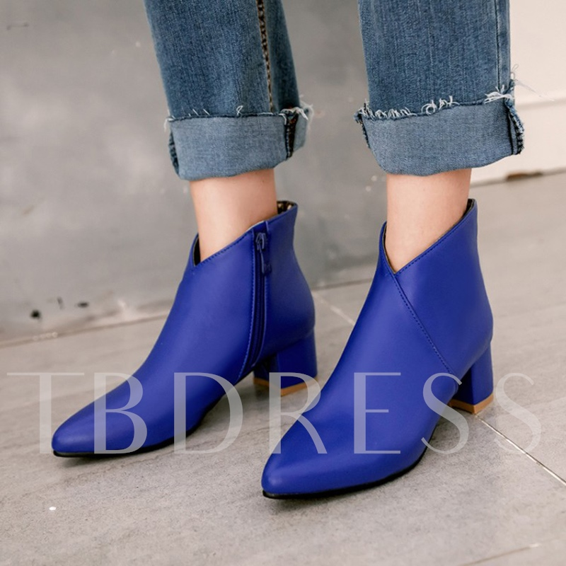 Thick Heel Side Zipper Women's Ankle Boots