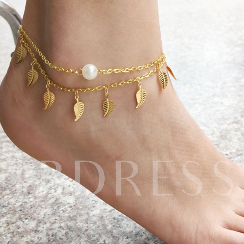 Tassel Imitation Pearl Leaf Shaped Anklet