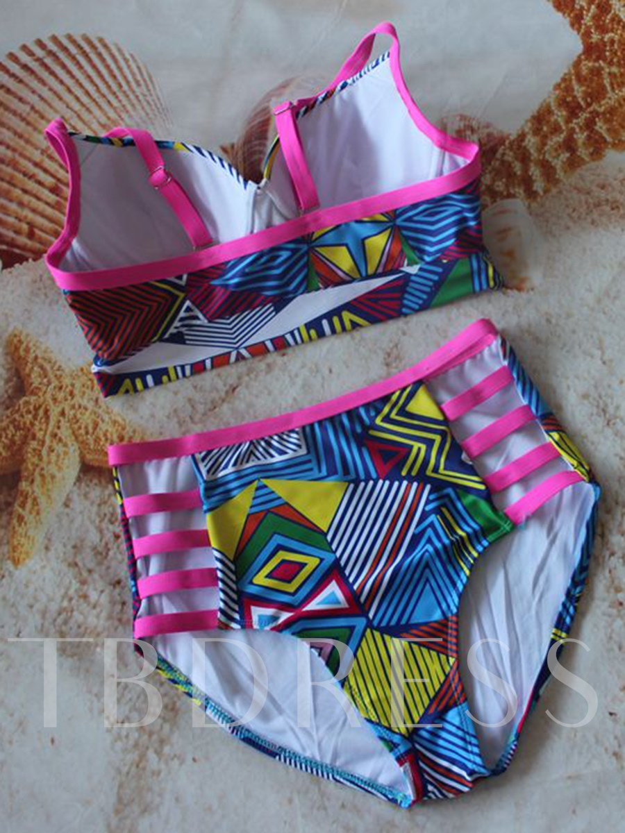 Lovely Hollow High-Waist Plus Size Bikini Set