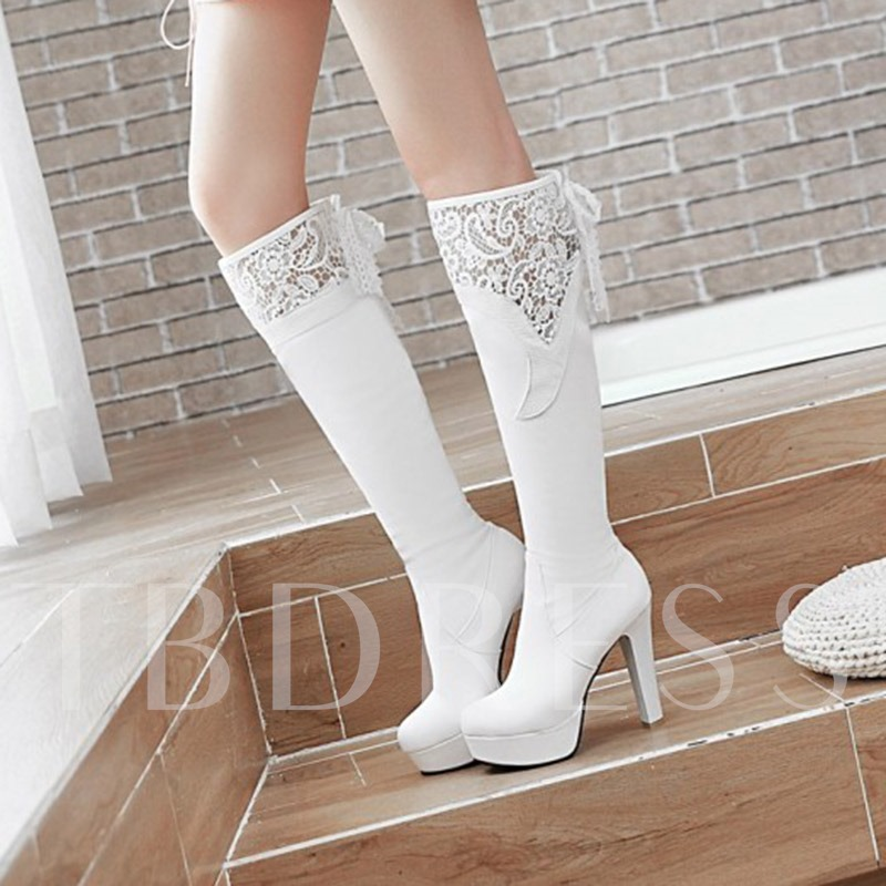 Plus Size Lace Platform Chunky Heel Boots for Women