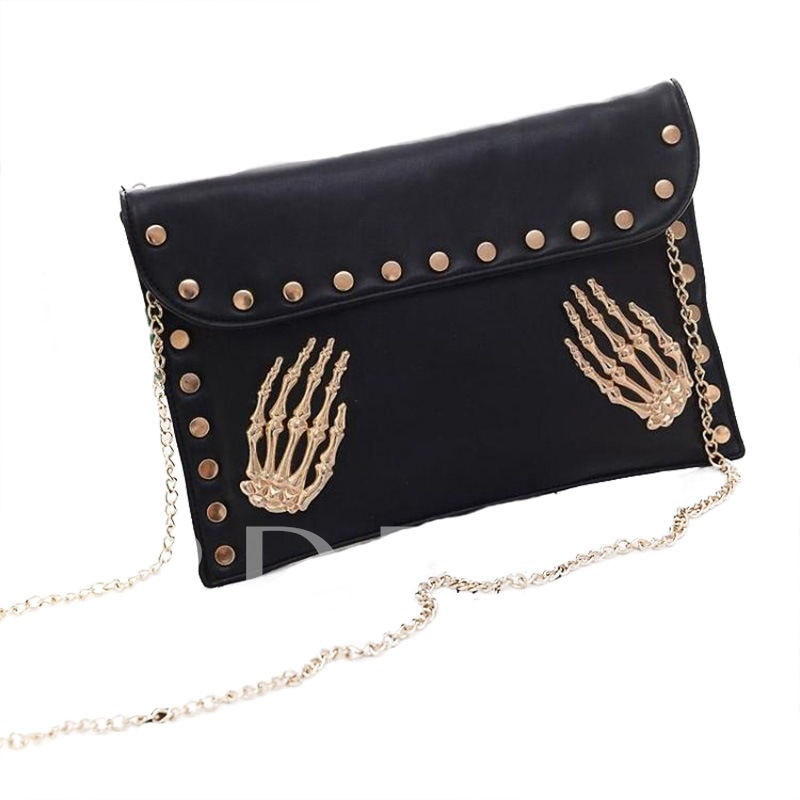Personality Skull Rivet Decoration Clutch