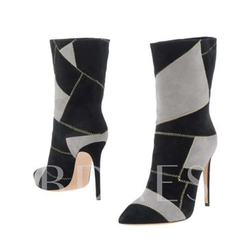 Plus Size Shoes Patchwork Women's High Heel Boots