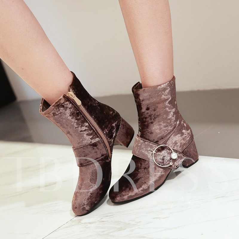 Plus Size Shoes Velvet with sequin Ankle Boots for Women