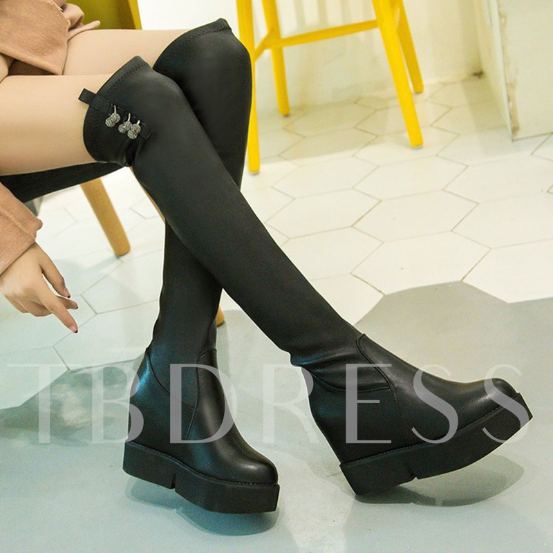 Black Over the Knee Boots Beads Platform Shoes