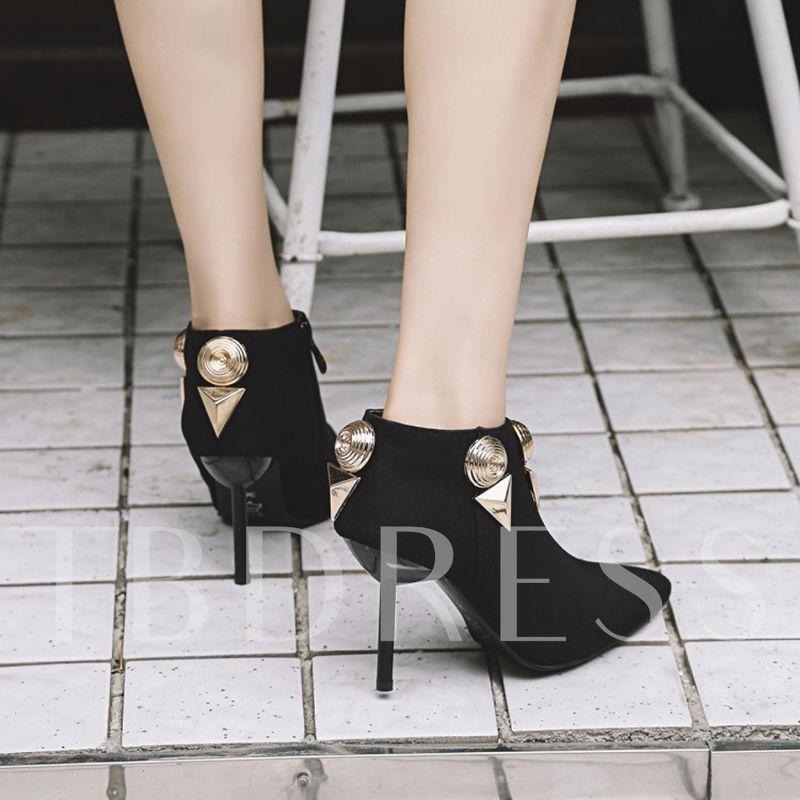 Plus Size Punk Shoes High Heel Pointed Toe Boots for Women