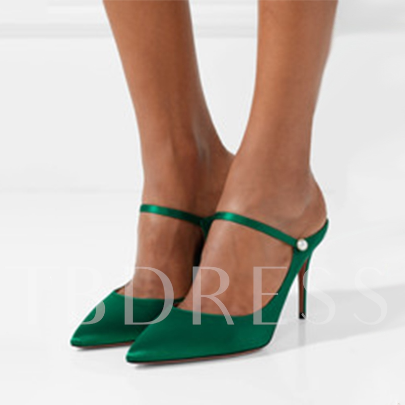 Plus Size Kelly Green High Heel Women's Mules Shoes