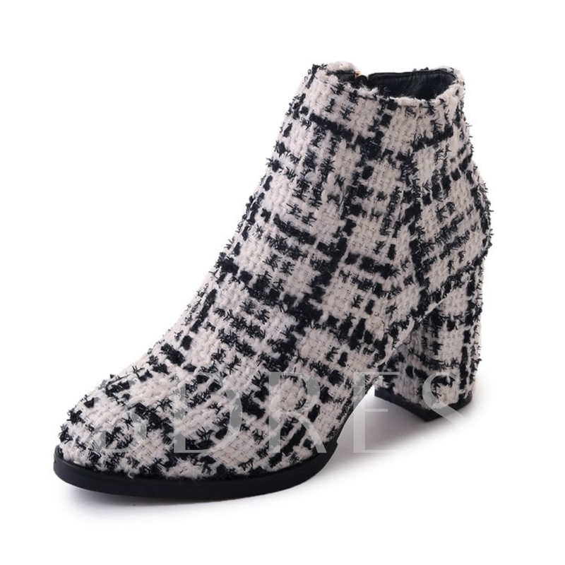 Plaid Cloth Thick Heel Women's Ankle Boots