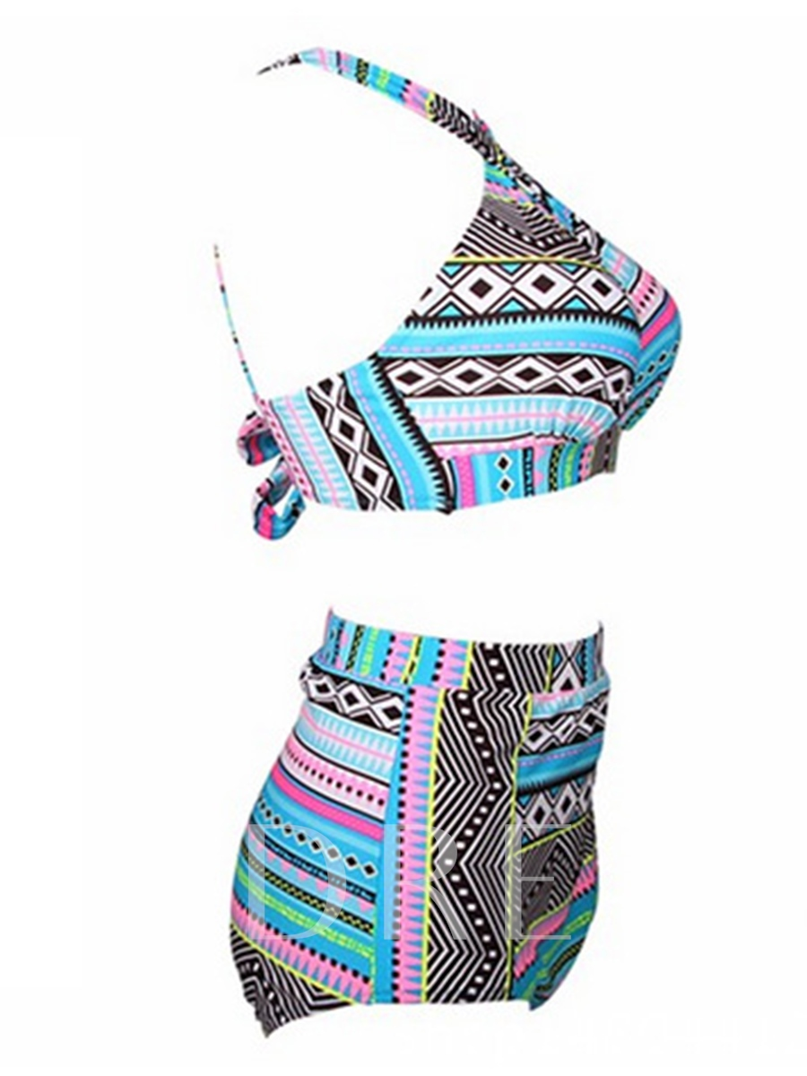 Geometric Print Cross Straps Plus Size Tankini Set