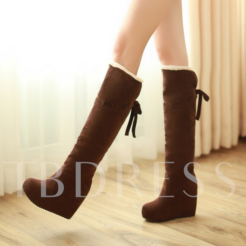 Lace Up Heigh Icreasing Shoes Platform Knee High Boots