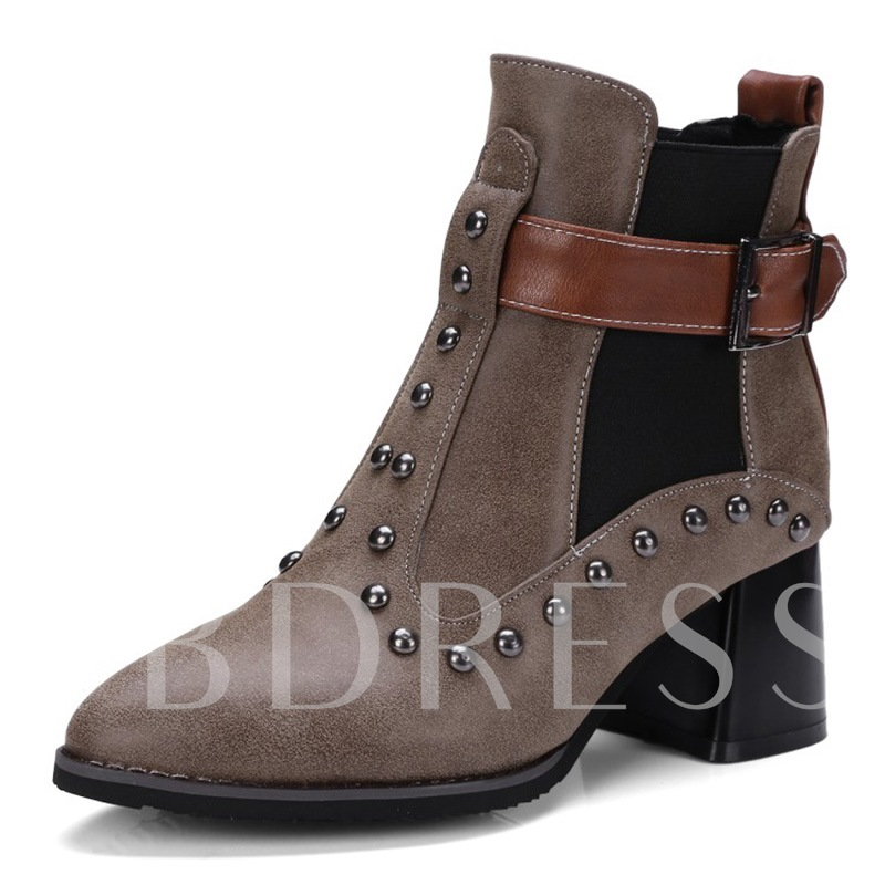 Plus Size Patchwork Shoes Hasp Rivet Women's Ankle Boots