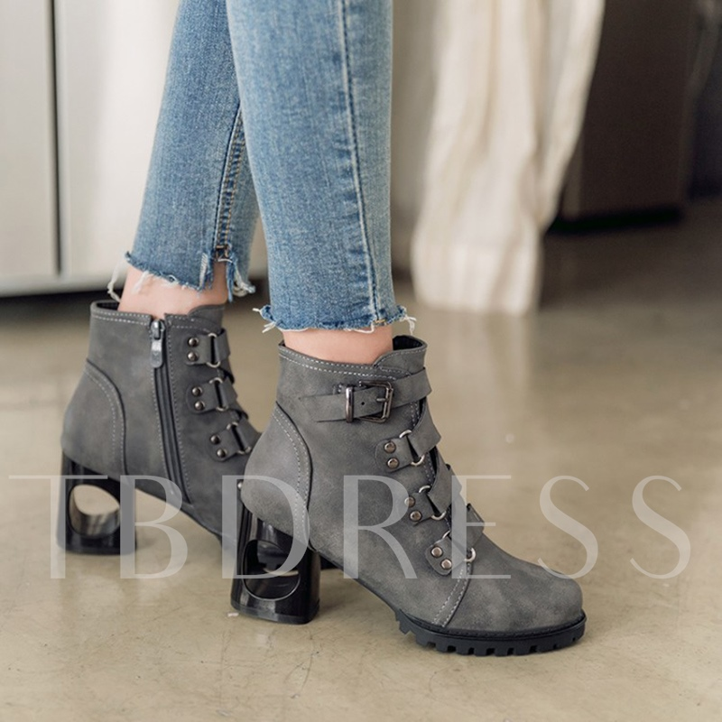 Hollow Heel Buckle Side Zipper Women's Ankle Boots