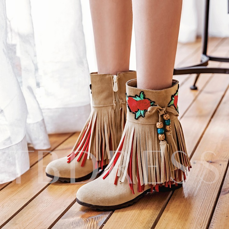Fringe Embroidery Suede Height Increasing Women's Boots