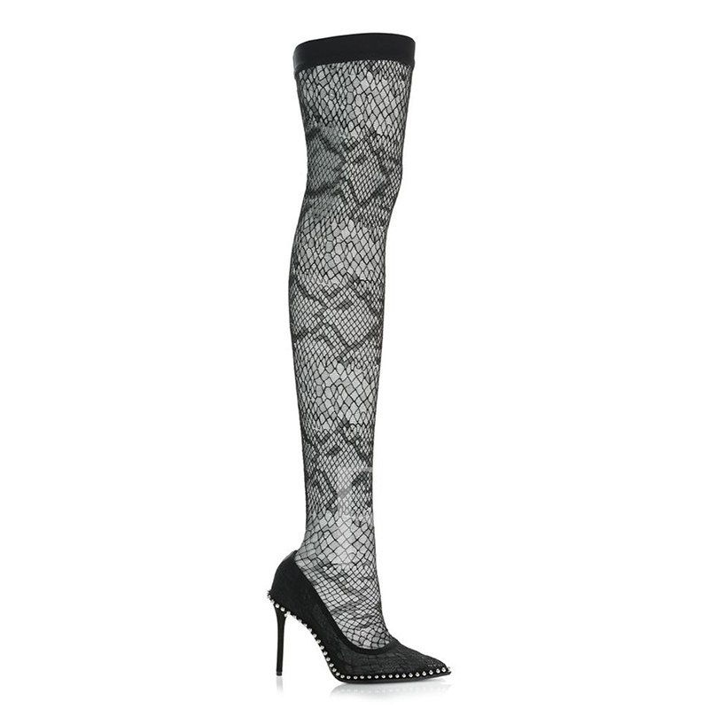 Black Mesh Boots Beads Purfle Women's Shoes