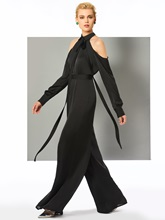 A-Line Long Sleeves Jewel Evening Jumpsuits