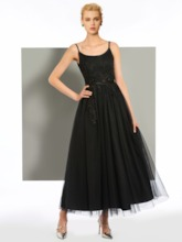 Spaghetti Straps A-Line Appliques Sashes Ankle-Length Evening Dress