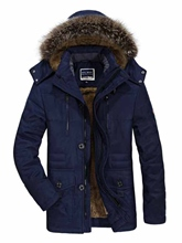 Faux Fur Hooded Solid Color Thicken Warm Loose Men's Winter Coat