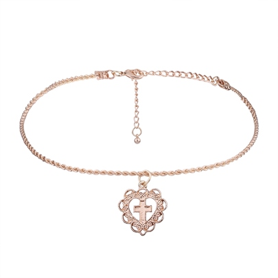 Heart Shaped Hollow Out Rose Gold Alloy Necklace